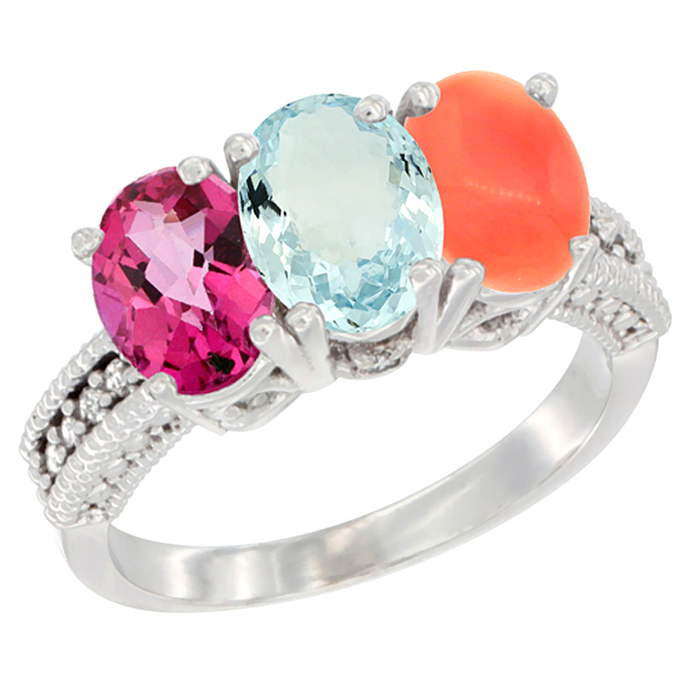 Sabrina Silver 14K White Gold Natural Pink Topaz, Aquamarine & Coral Ring 3-Stone 7x5 mm Oval Diamond Accent, sizes 5 - 10 at Sears.com