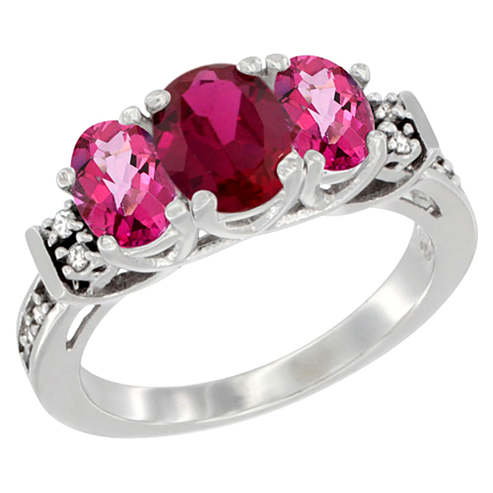Sabrina Silver 10K White Gold Natural HQ Ruby & Pink Topaz Ring 3-Stone Oval Diamond Accent, sizes 5-10 at Sears.com