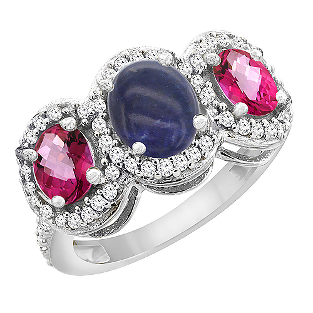 Sabrina Silver 14K White Gold Natural Lapis & Pink Topaz 3-Stone Ring Oval Diamond Accent, sizes 5 - 10 at Sears.com