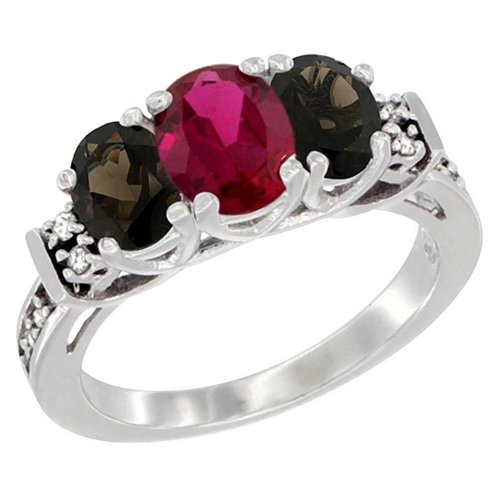 Sabrina Silver 14K White Gold Natural HQ Ruby & Smoky Topaz Ring 3-Stone Oval Diamond Accent, sizes 5-10 at Sears.com