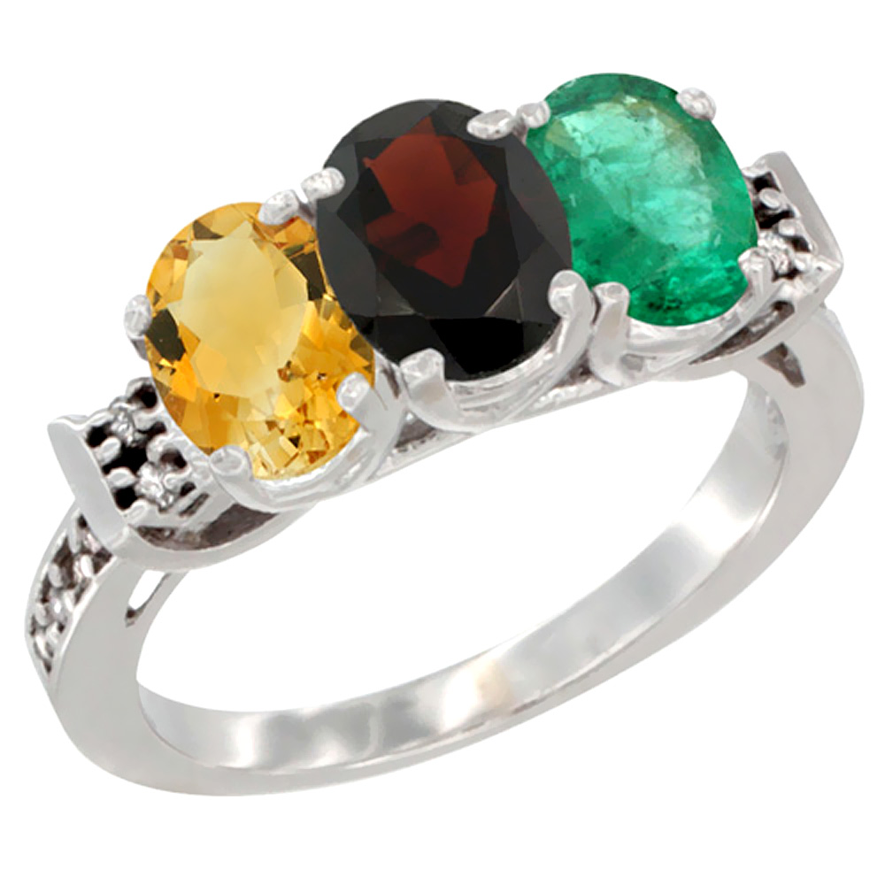 Sabrina Silver 10K White Gold Natural Citrine, Garnet & Emerald Ring 3-Stone Oval 7x5 mm Diamond Accent, sizes 5 - 10 at Sears.com