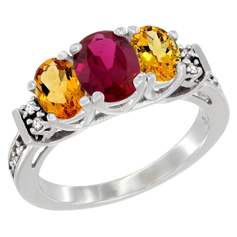Sabrina Silver 14K White Gold Natural HQ Ruby & Citrine Ring 3-Stone Oval Diamond Accent, sizes 5-10 at Sears.com