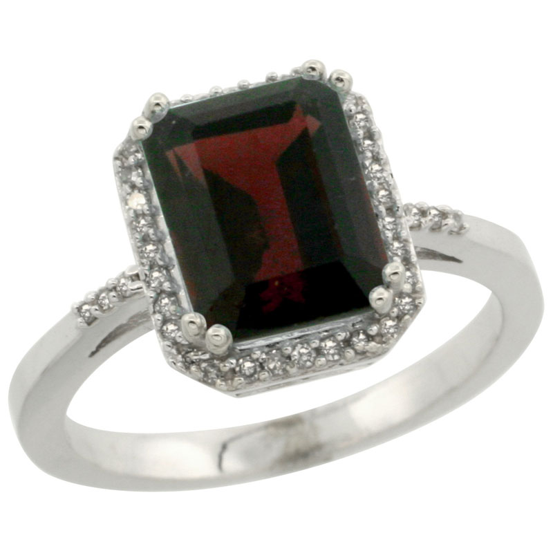 10K White Gold Diamond Natural Garnet Ring Emerald-cut 9x7mm, sizes 5-10