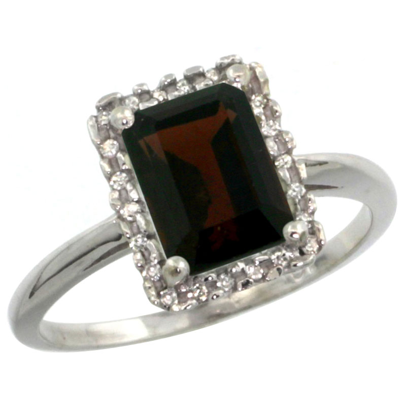 10K White Gold Diamond Natural Garnet Ring Emerald-cut 8x6mm, sizes 5-10