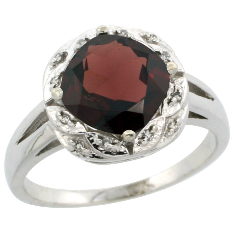 10k White Gold Natural Garnet Ring Cushion-cut 8x8mm Diamond Halo, sizes 5-10