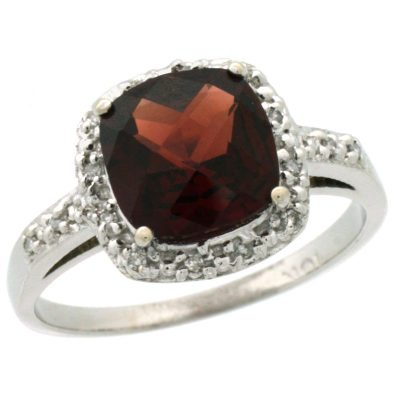 10K White Gold Diamond Natural Garnet Ring Cushion-cut 8x8 mm, sizes 5-10