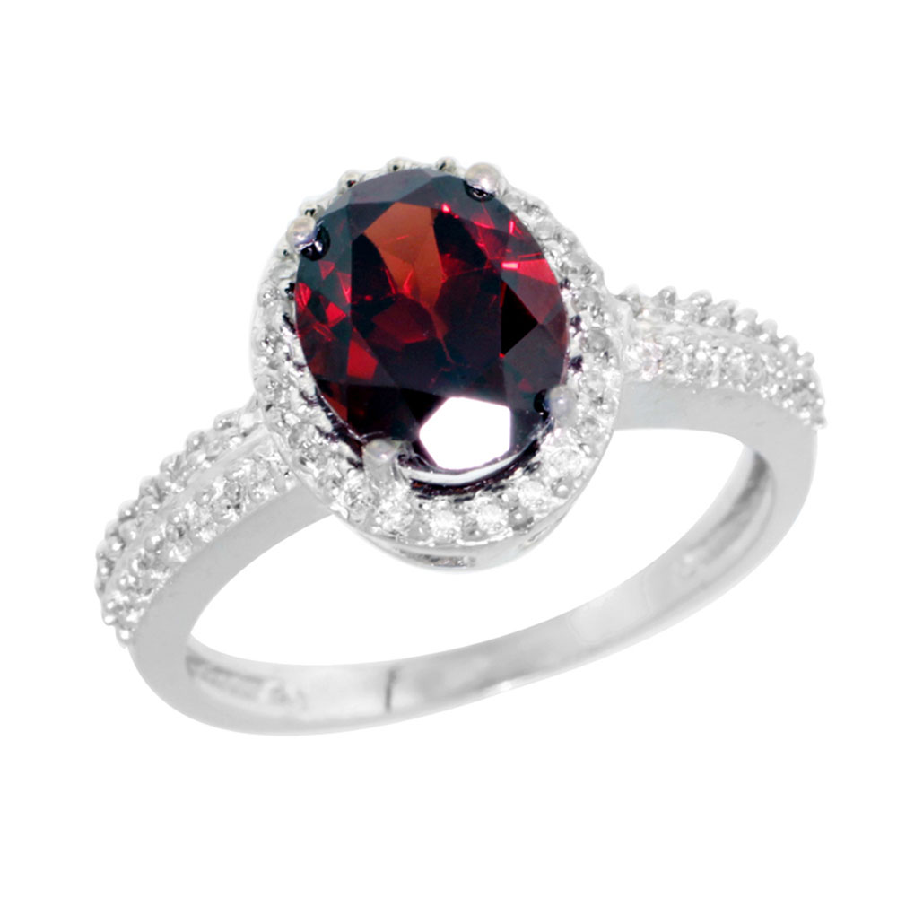 10K White Gold Diamond Natural Garnet Ring Oval 9x7mm, sizes 5-10
