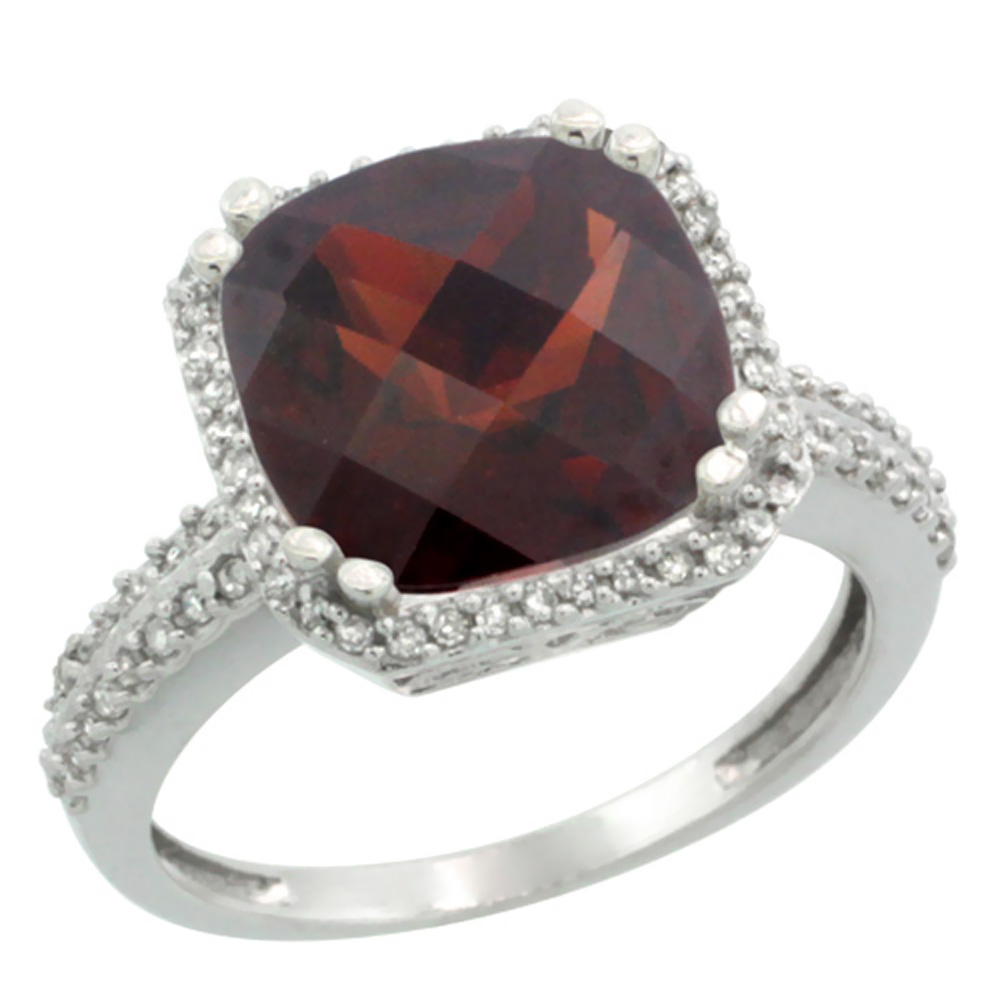 10k White Gold Natural Garnet Ring Cushion-cut 11x11mm Diamond Halo, sizes 5-10