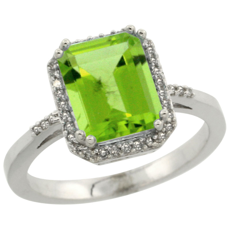 14K White Gold Diamond Natural Peridot Ring Emerald-cut 9x7mm, sizes 5-10