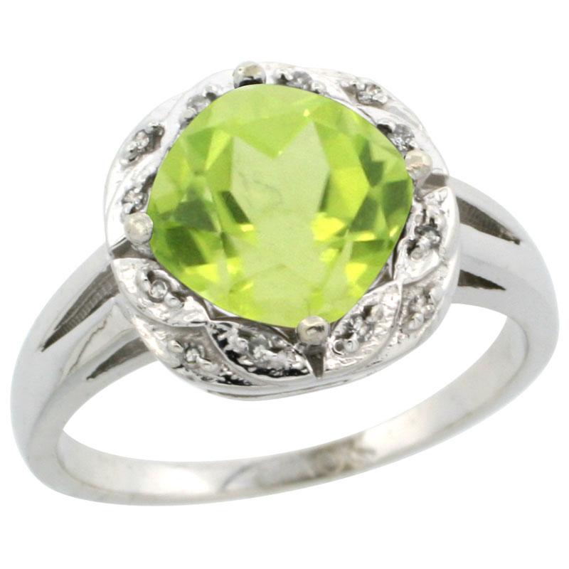 10k White Gold Natural Peridot Ring Cushion-cut 8x8mm Diamond Halo, sizes 5-10