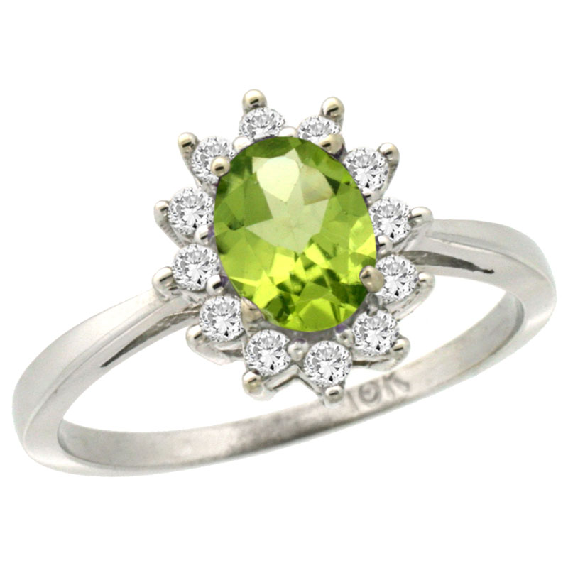14K White Gold Natural Peridot Engagement Ring Oval 7x5mm Diamond Halo, sizes 5-10