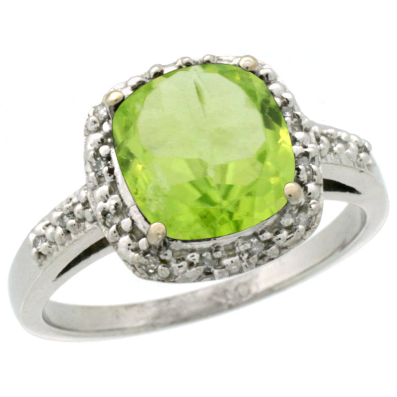 14K White Gold Diamond Natural Peridot Ring Cushion-cut 8x8 mm, sizes 5-10