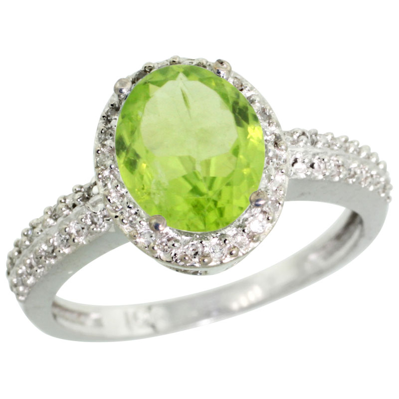 14K White Gold Diamond Natural Peridot Ring Oval 9x7mm, sizes 5-10