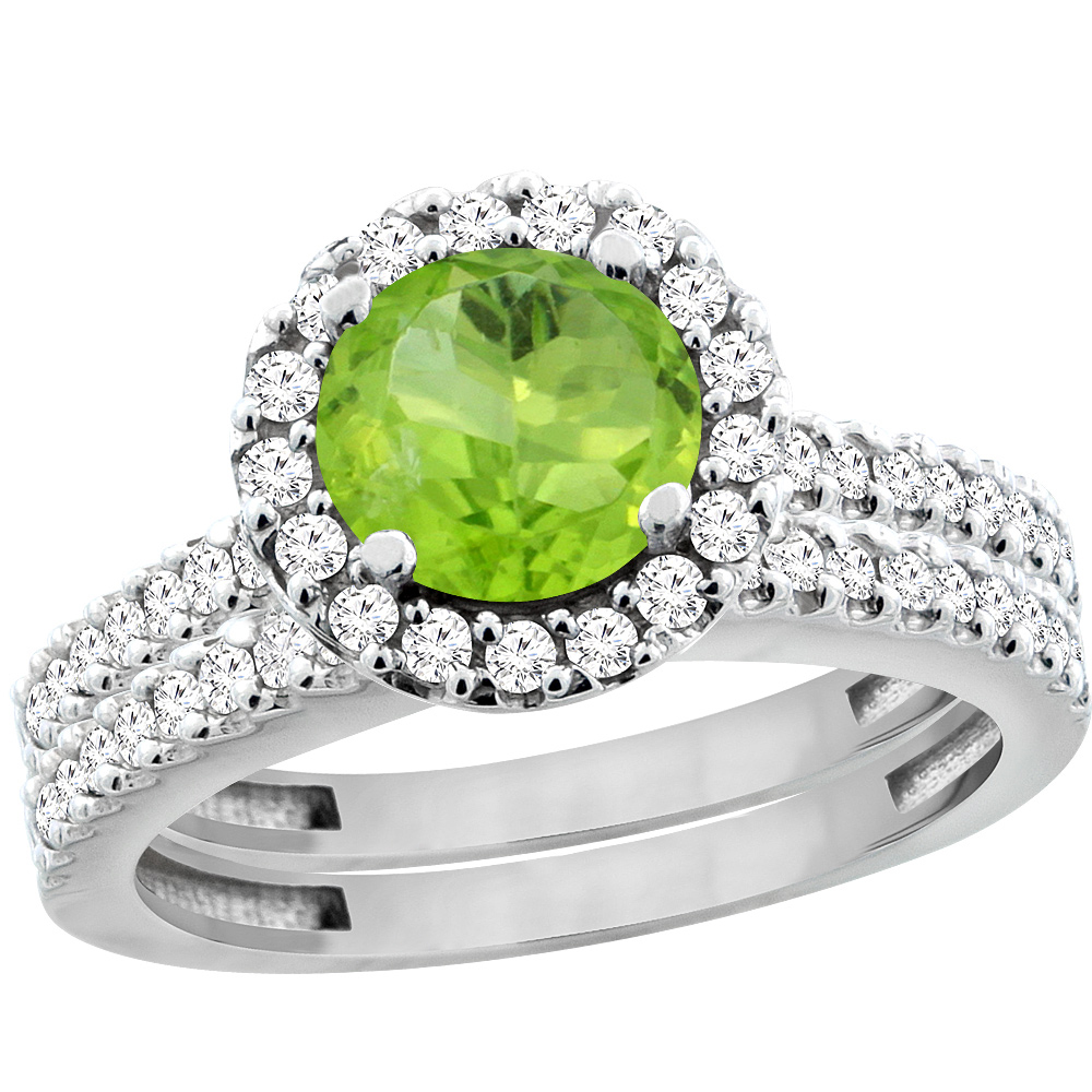 Sabrina Silver 14K White Gold Natural Peridot Round 6mm 2-Piece Engagement Ring Set Floating Halo Diamond, sizes 5 - 10 at Sears.com