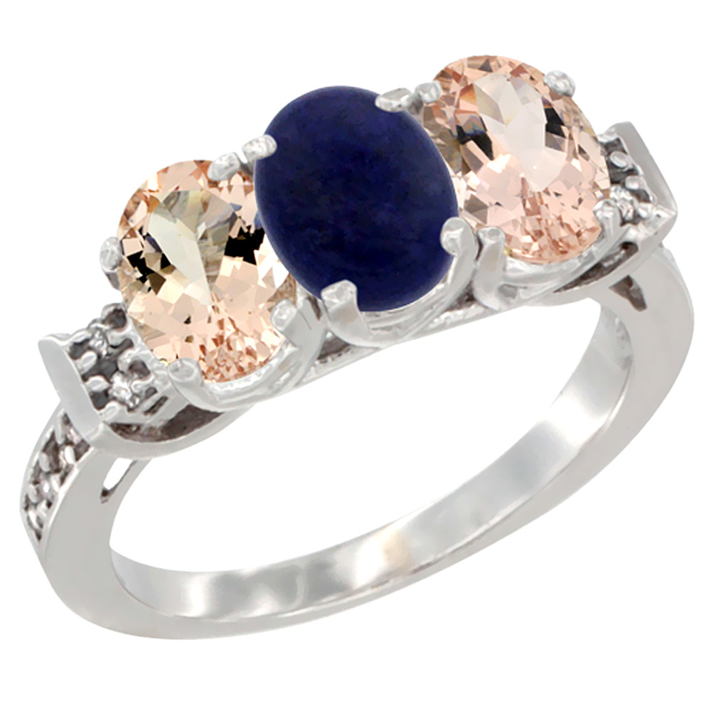 Sabrina Silver 10K White Gold Natural Lapis & Morganite Sides Ring 3-Stone Oval 7x5 mm Diamond Accent, sizes 5 - 10 at Sears.com