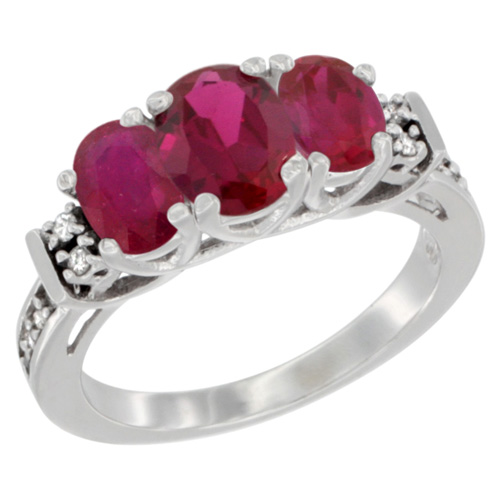 Sabrina Silver 14K White Gold Natural HQ Ruby Ring 3-Stone Oval Diamond Accent, sizes 5-10 at Sears.com