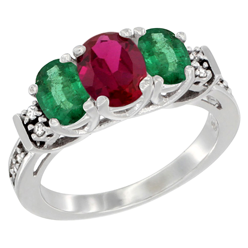 Sabrina Silver 14K White Gold Natural HQ Ruby & Emerald Ring 3-Stone Oval Diamond Accent, sizes 5-10 at Sears.com