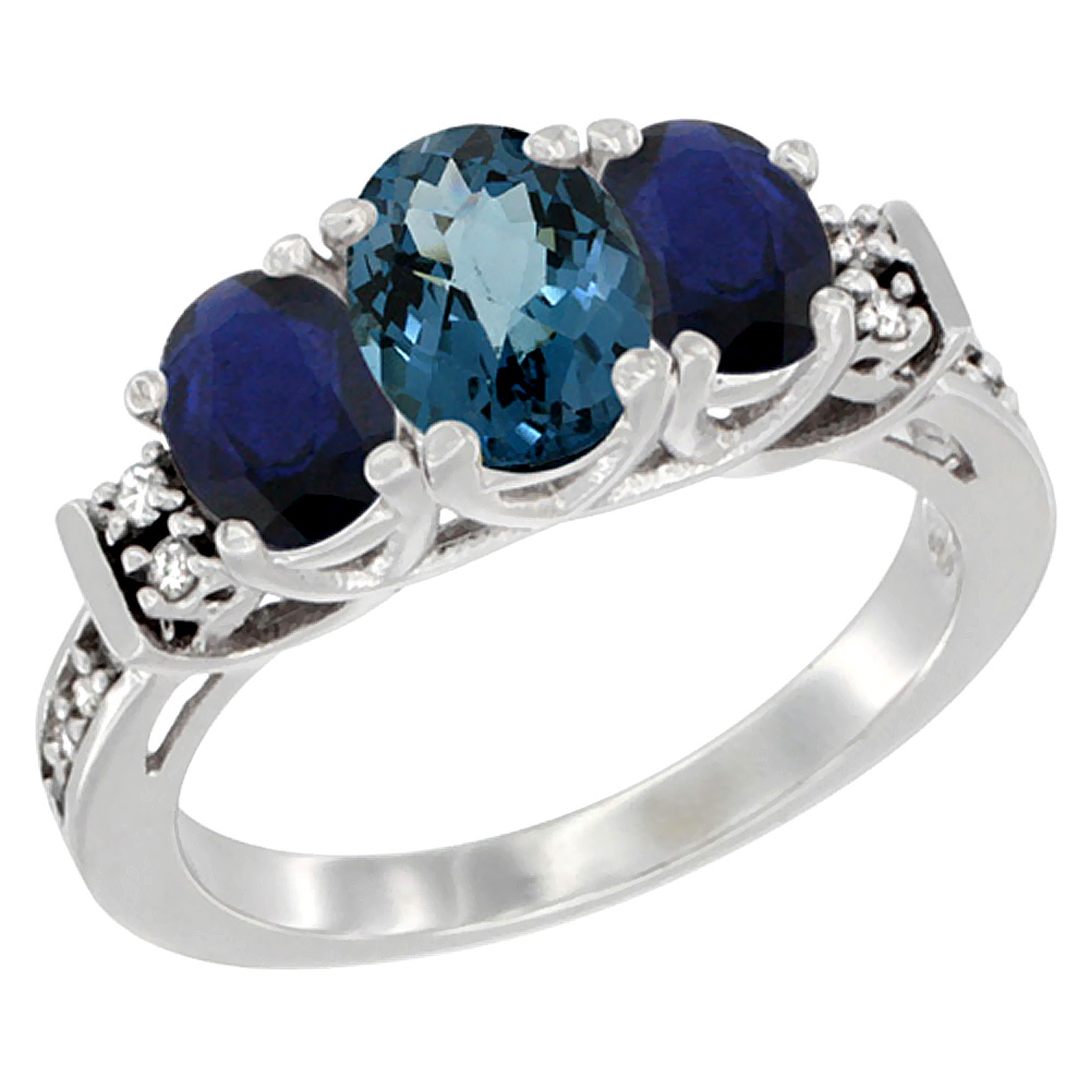 Sabrina Silver 10K White Gold Natural London Blue Topaz & HQ Blue Sapphire Ring 3-Stone Oval Diamond Accent, sizes 5-10 at Sears.com