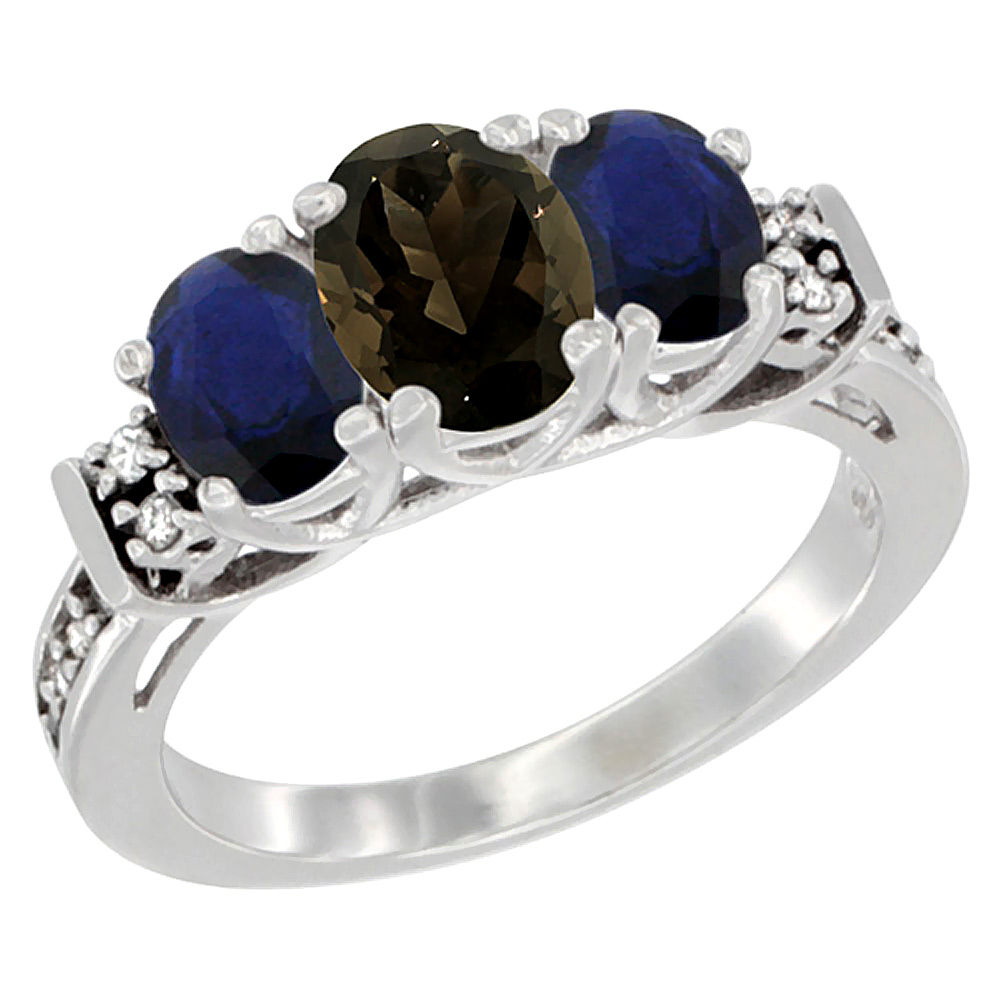 Sabrina Silver 10K White Gold Natural Smoky Topaz & HQ Blue Sapphire Ring 3-Stone Oval Diamond Accent, sizes 5-10 at Sears.com