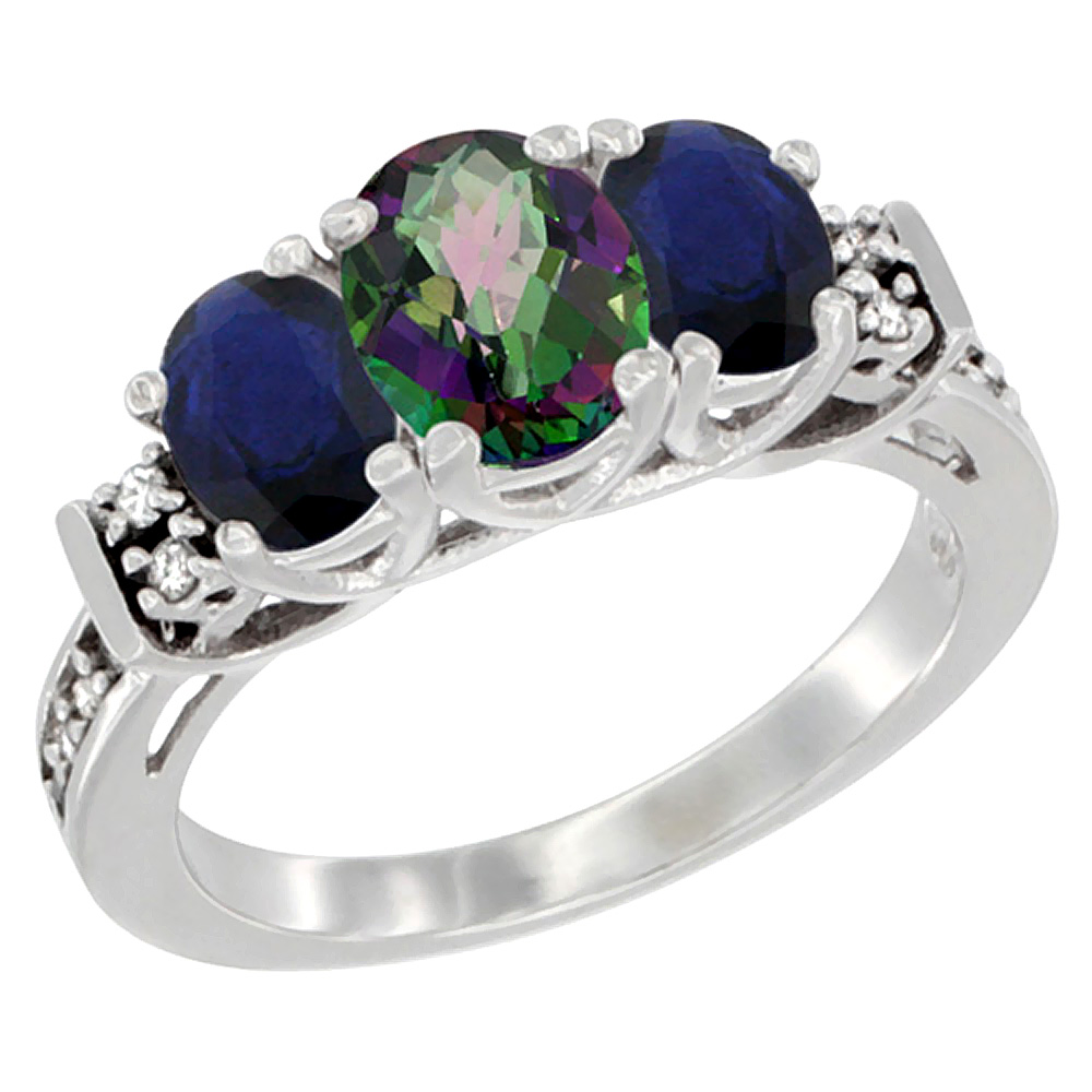 Sabrina Silver 10K White Gold Natural Mystic Topaz & HQ Blue Sapphire Ring 3-Stone Oval Diamond Accent, sizes 5-10 at Sears.com