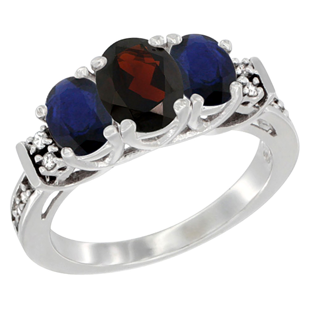 Sabrina Silver 10K White Gold Natural Garnet & HQ Blue Sapphire Ring 3-Stone Oval Diamond Accent, sizes 5-10 at Sears.com