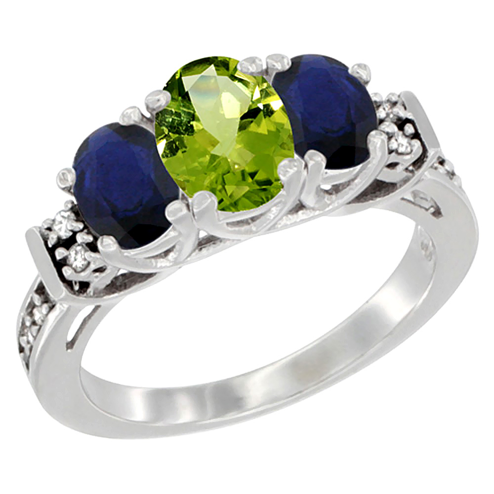 Sabrina Silver 10K White Gold Natural Peridot & HQ Blue Sapphire Ring 3-Stone Oval Diamond Accent, sizes 5-10 at Sears.com