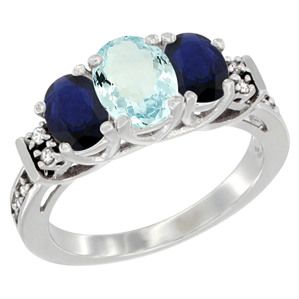 Sabrina Silver 10K White Gold Natural Aquamarine & HQ Blue Sapphire Ring 3-Stone Oval Diamond Accent, sizes 5-10 at Sears.com
