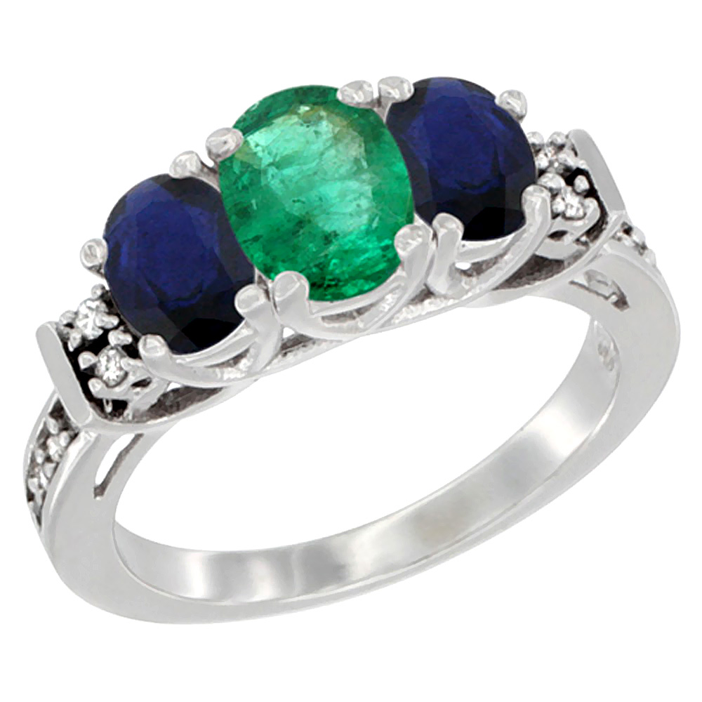 Sabrina Silver 10K White Gold Natural Emerald & HQ Blue Sapphire Ring 3-Stone Oval Diamond Accent, sizes 5-10 at Sears.com