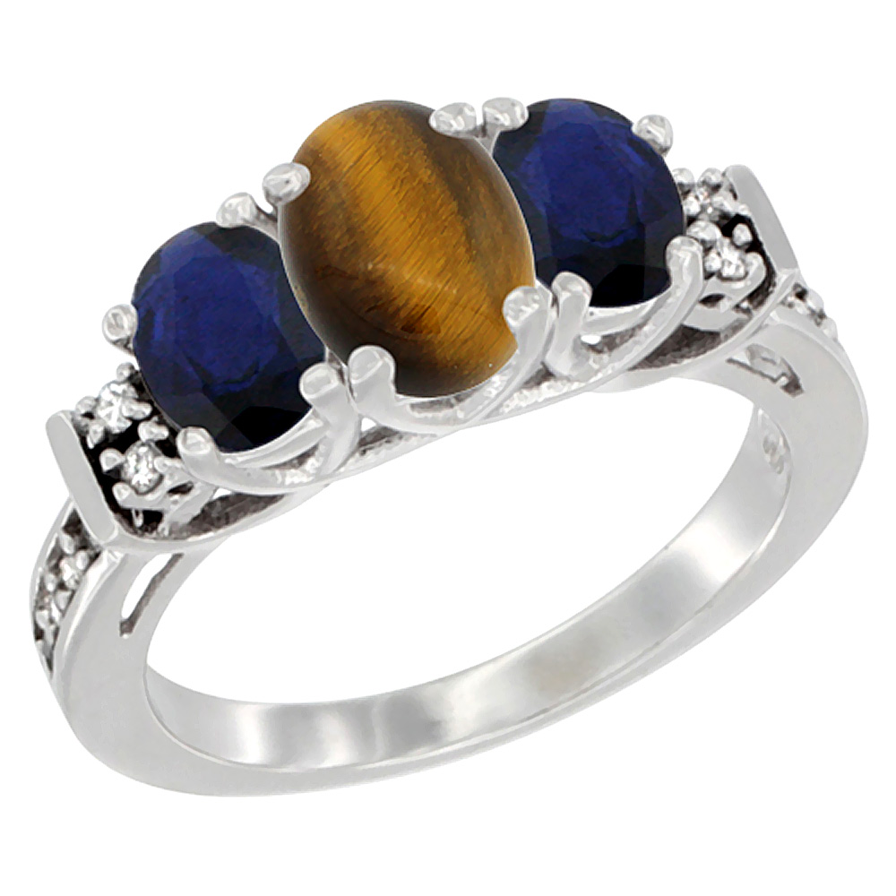 Sabrina Silver 10K White Gold Natural Tiger Eye & HQ Blue Sapphire Ring 3-Stone Oval Diamond Accent, sizes 5-10 at Sears.com