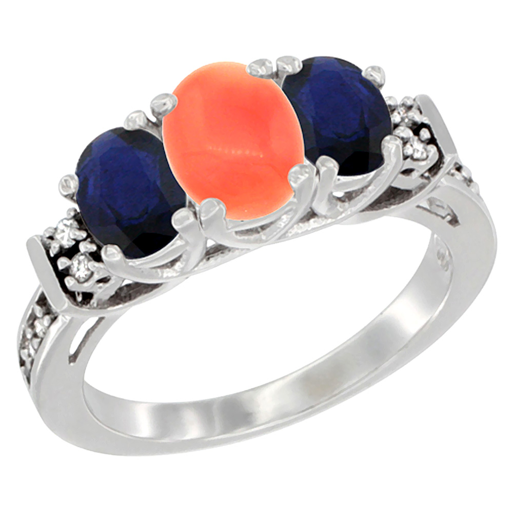 Sabrina Silver 10K White Gold Natural Coral & HQ Blue Sapphire Ring 3-Stone Oval Diamond Accent, sizes 5-10 at Sears.com