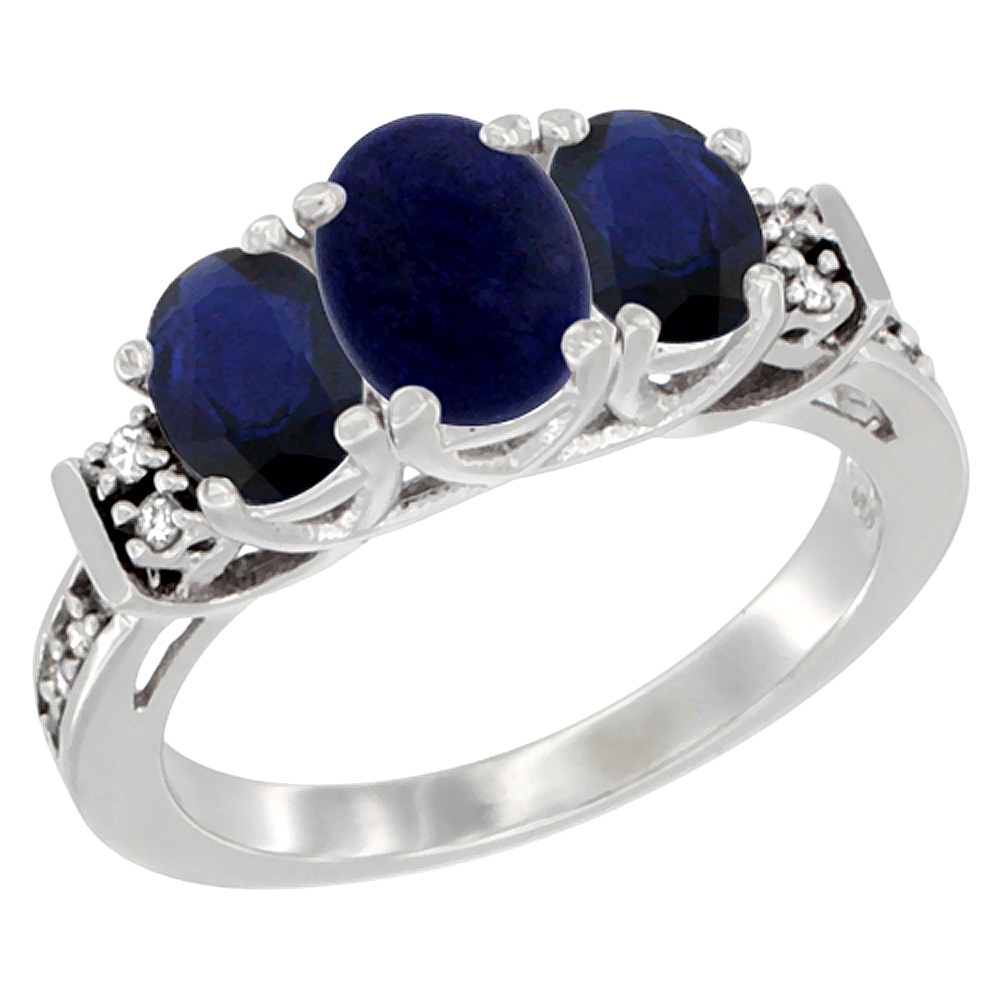 Sabrina Silver 10K White Gold Natural Lapis & HQ Blue Sapphire Ring 3-Stone Oval Diamond Accent, sizes 5-10 at Sears.com