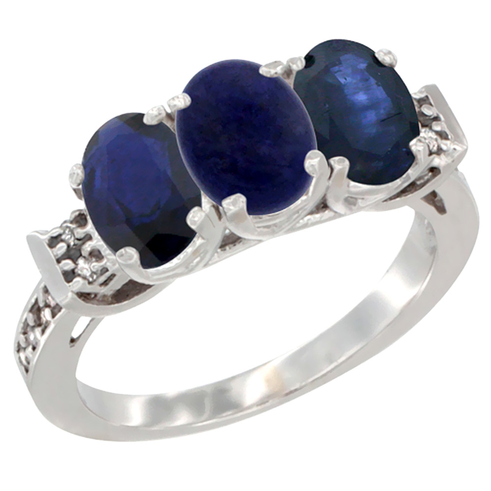 Sabrina Silver 10K White Gold Natural Lapis & Blue Sapphire Sides Ring 3-Stone Oval 7x5 mm Diamond Accent, sizes 5 - 10 at Sears.com