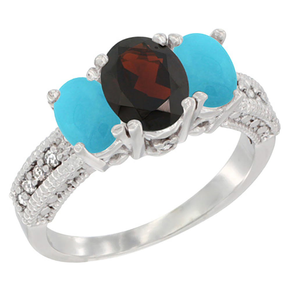 Sabrina Silver 14k Yellow Gold Ladies Oval Natural Garnet 3-Stone Ring with Turquoise Sides Diamond Accent