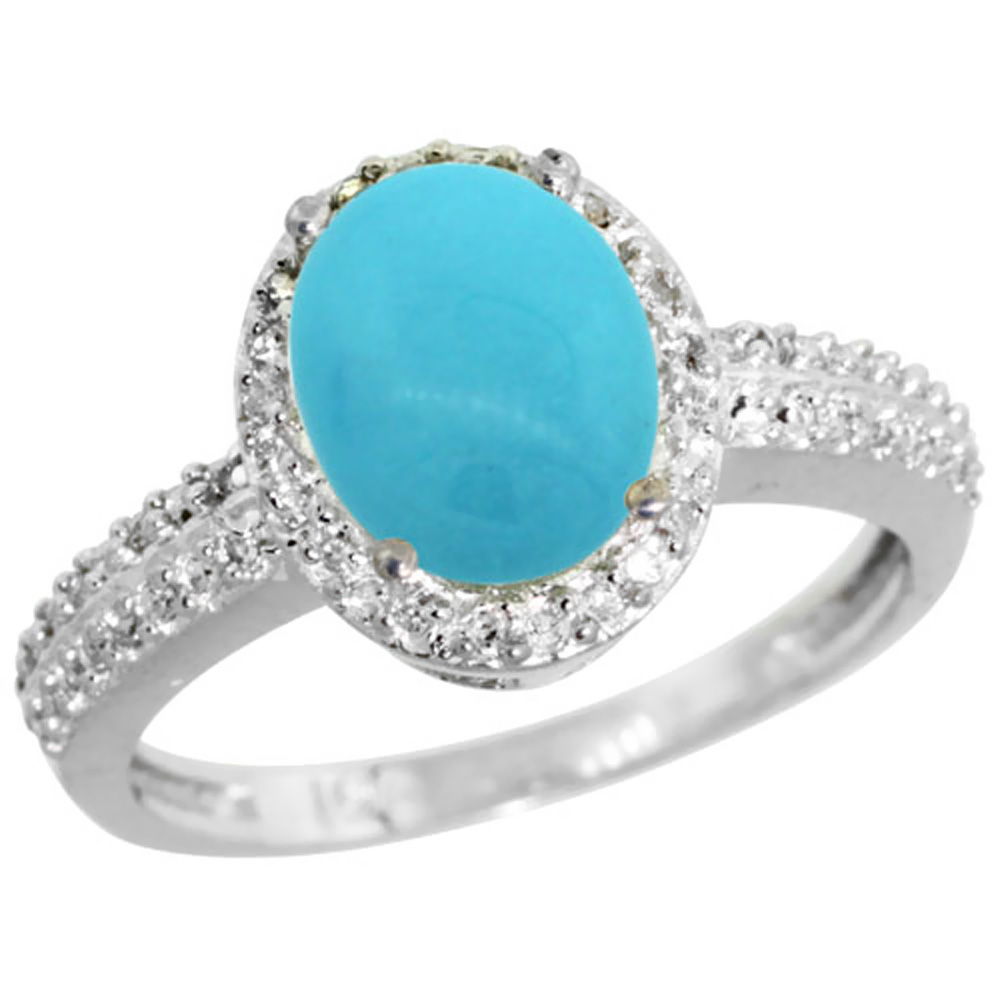 14K White Gold Natural Diamond Sleeping Beauty Turquoise Ring Oval 9x7mm, sizes 5-10
