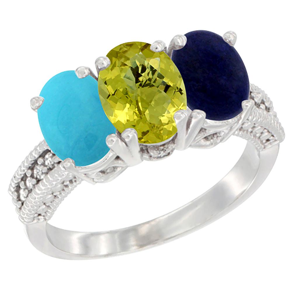 Sabrina Silver 10K White Gold Diamond Natural Turquoise Lemon Quartz & Lapis Ring 3-Stone 7x5 mm Oval sizes 5 - 10