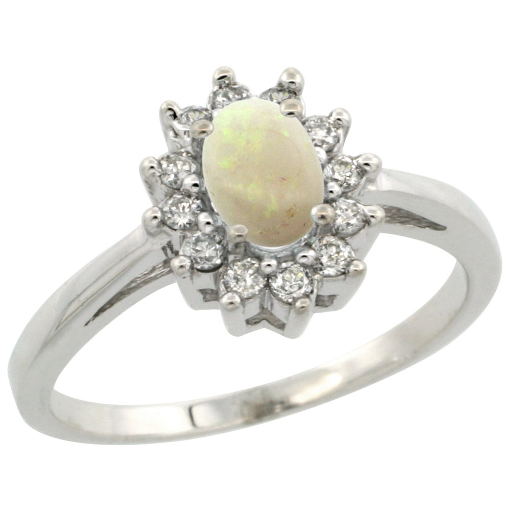 10K White Gold Natural Opal Flower Diamond Halo Ring Oval 6x4 mm, sizes 5-10