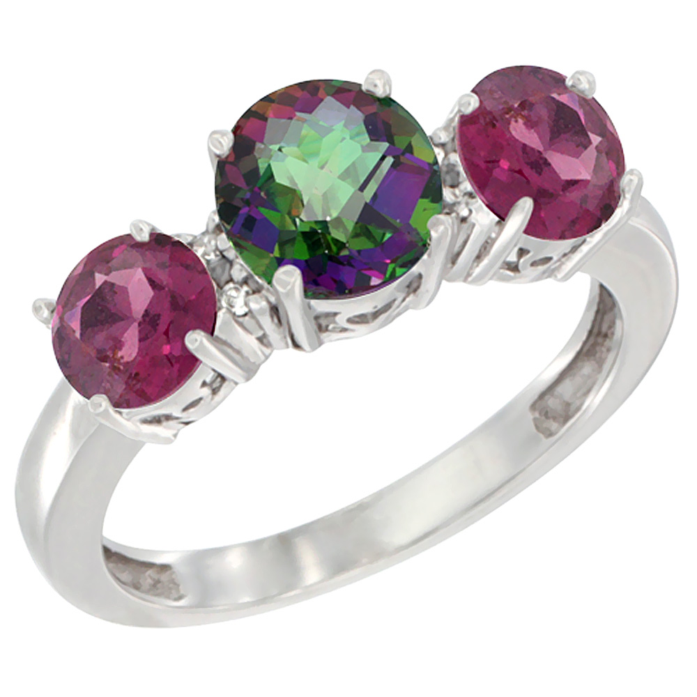 Sabrina Silver 14K White Gold Round 3-Stone Natural Mystic Topaz & Rhodolite Sides Diamond Accent, sizes 5 - 10 at Sears.com