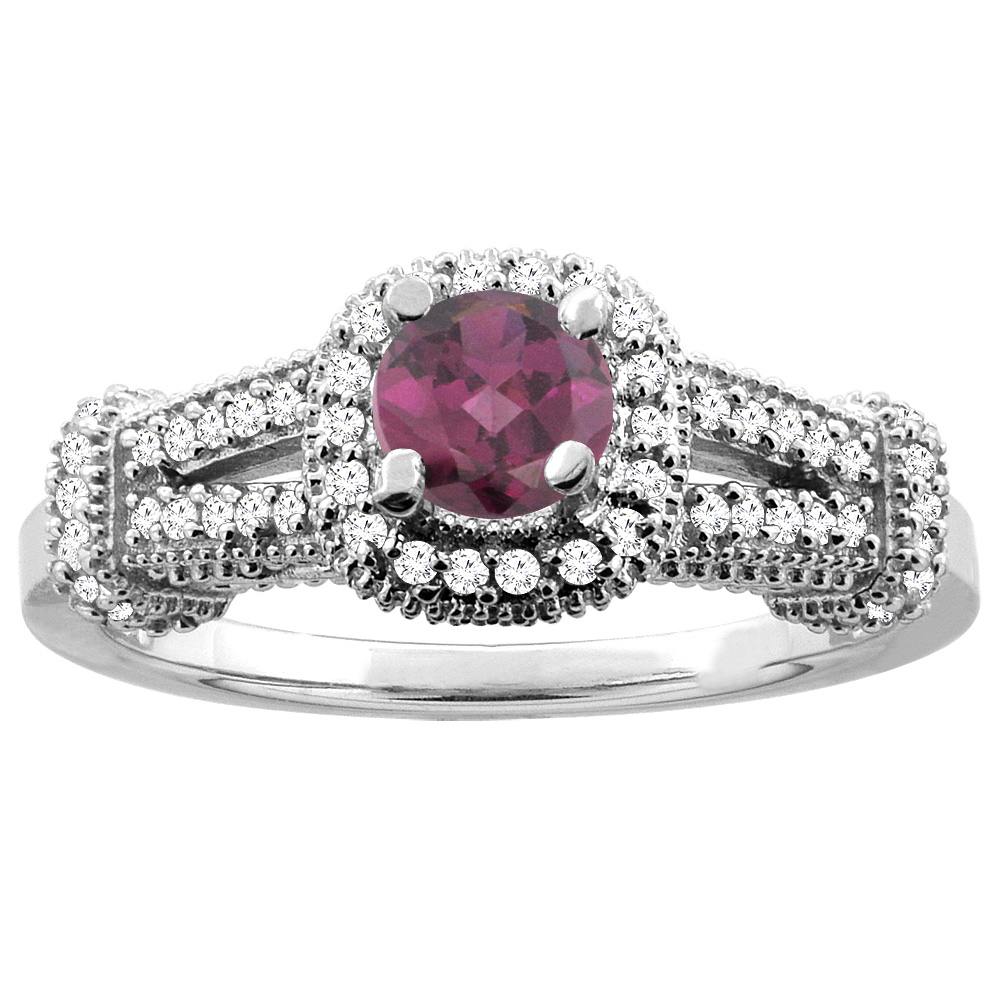 Sabrina Silver 10K White Gold Natural Rhodolite Engagement Halo Ring Round 5mm Diamond Accents, sizes 5 - 10 at Sears.com