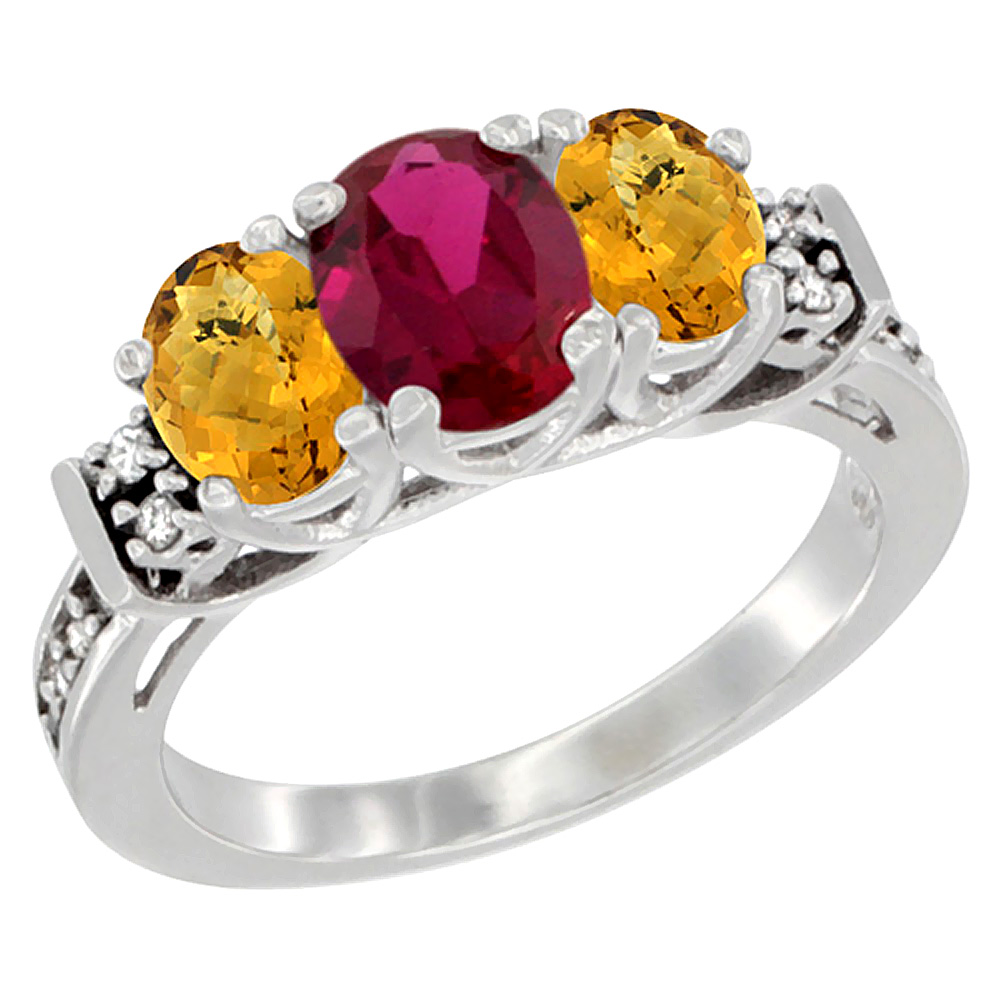Sabrina Silver 14K White Gold Natural HQ Ruby & Whisky Quartz Ring 3-Stone Oval Diamond Accent, sizes 5-10 at Sears.com