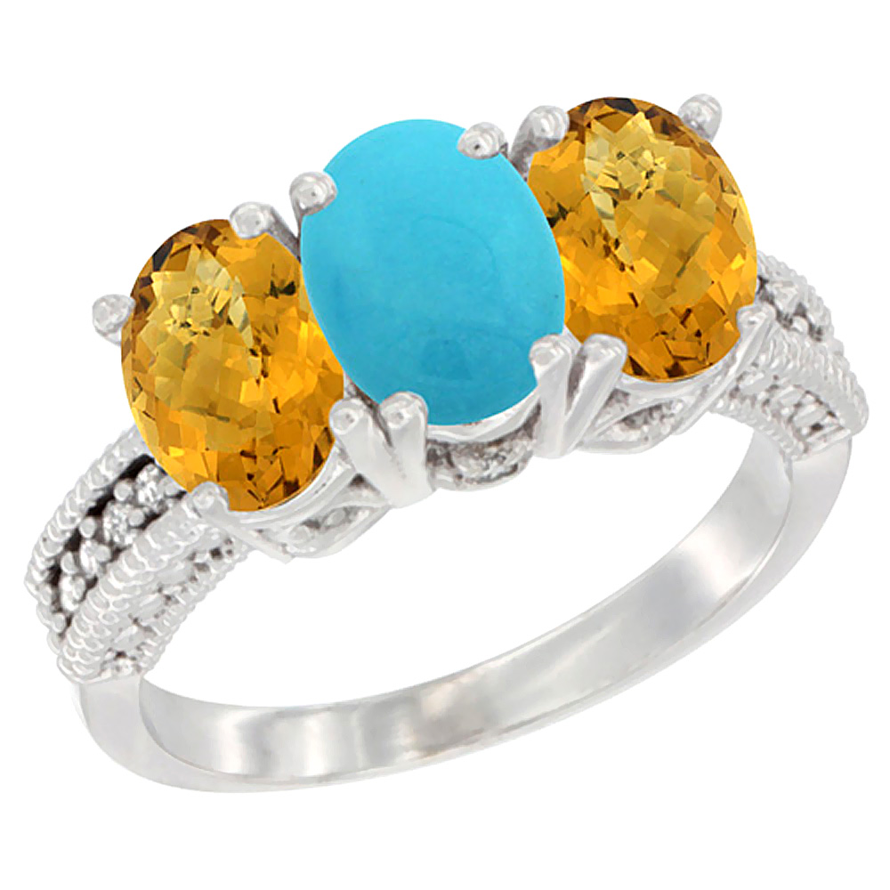 Sabrina Silver 10K White Gold Natural Turquoise & Whisky Quartz Sides Ring 3-Stone Oval 7x5 mm Diamond Accent, sizes 5 - 10 at Sears.com