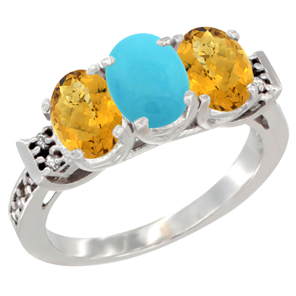 Sabrina Silver 14K White Gold Natural Turquoise & Whisky Quartz Ring 3-Stone 7x5 mm Oval Diamond Accent, sizes 5 - 10 at Sears.com