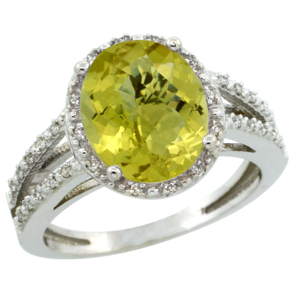 14K White Gold Natural Lemon Quartz Diamond Halo Ring Oval 11x9mm, sizes 5-10