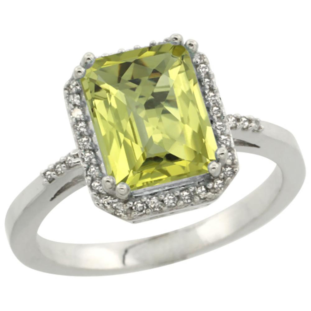 14K White Gold Diamond Natural Lemon Quartz Ring Emerald-cut 9x7mm, sizes 5-10