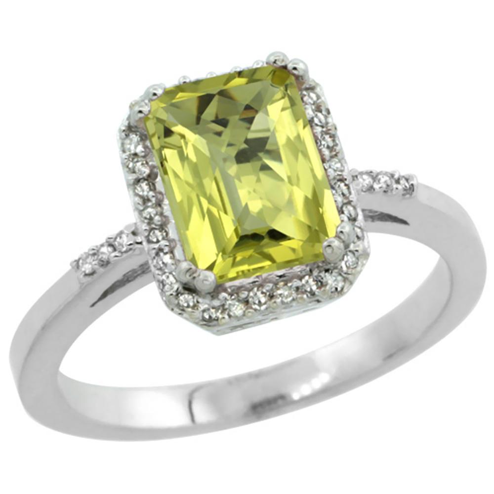 14K White Gold Diamond Natural Lemon Quartz Ring Emerald-cut 8x6mm, sizes 5-10