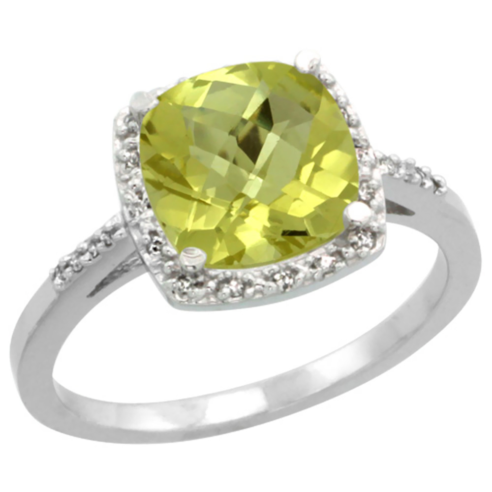14K White Gold Diamond Natural Lemon Quartz Ring Cushion-cut 8x8 mm, sizes 5-10