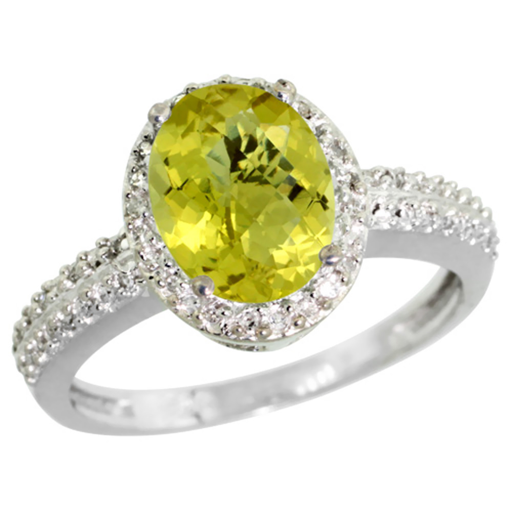 14K White Gold Diamond Natural Lemon Quartz Ring Oval 9x7mm, sizes 5-10