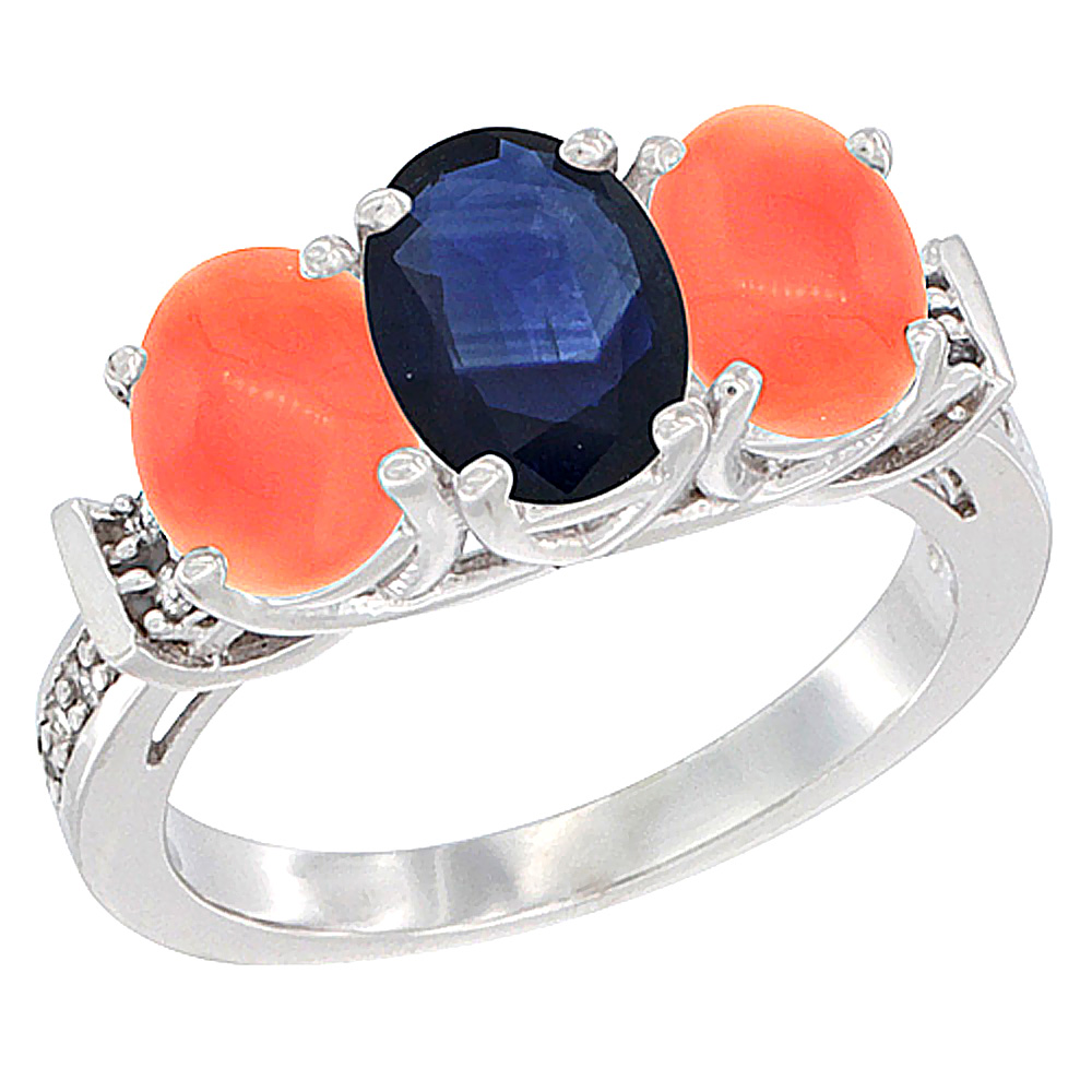 Sabrina Silver 10K White Gold Natural Blue Sapphire & Coral Sides Ring 3-Stone Oval Diamond Accent, sizes 5 - 10 at Sears.com