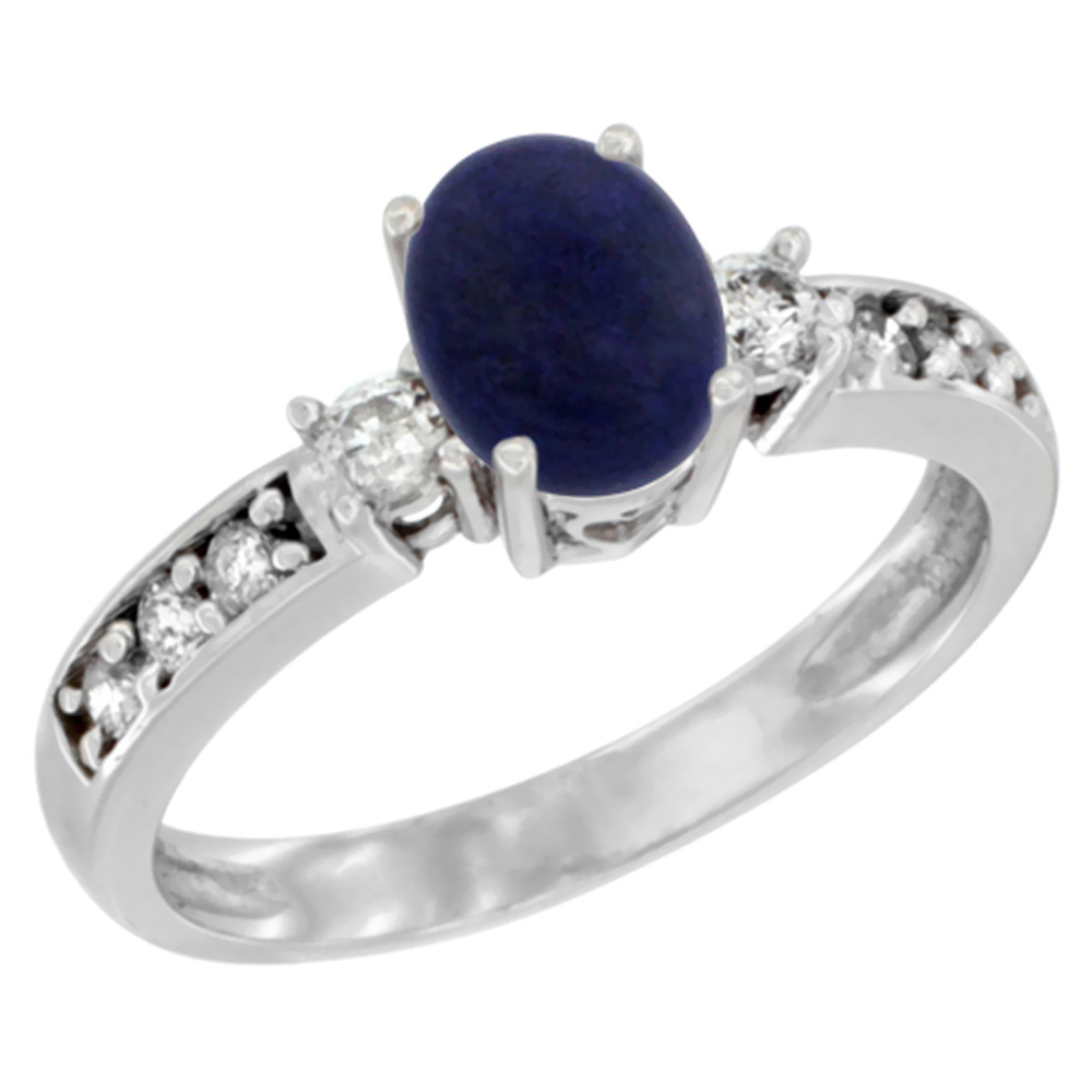 Sabrina Silver 10k White Gold Natural Lapis Ring Oval 7x5 mm Diamond Accent, sizes 5 - 10 at Sears.com
