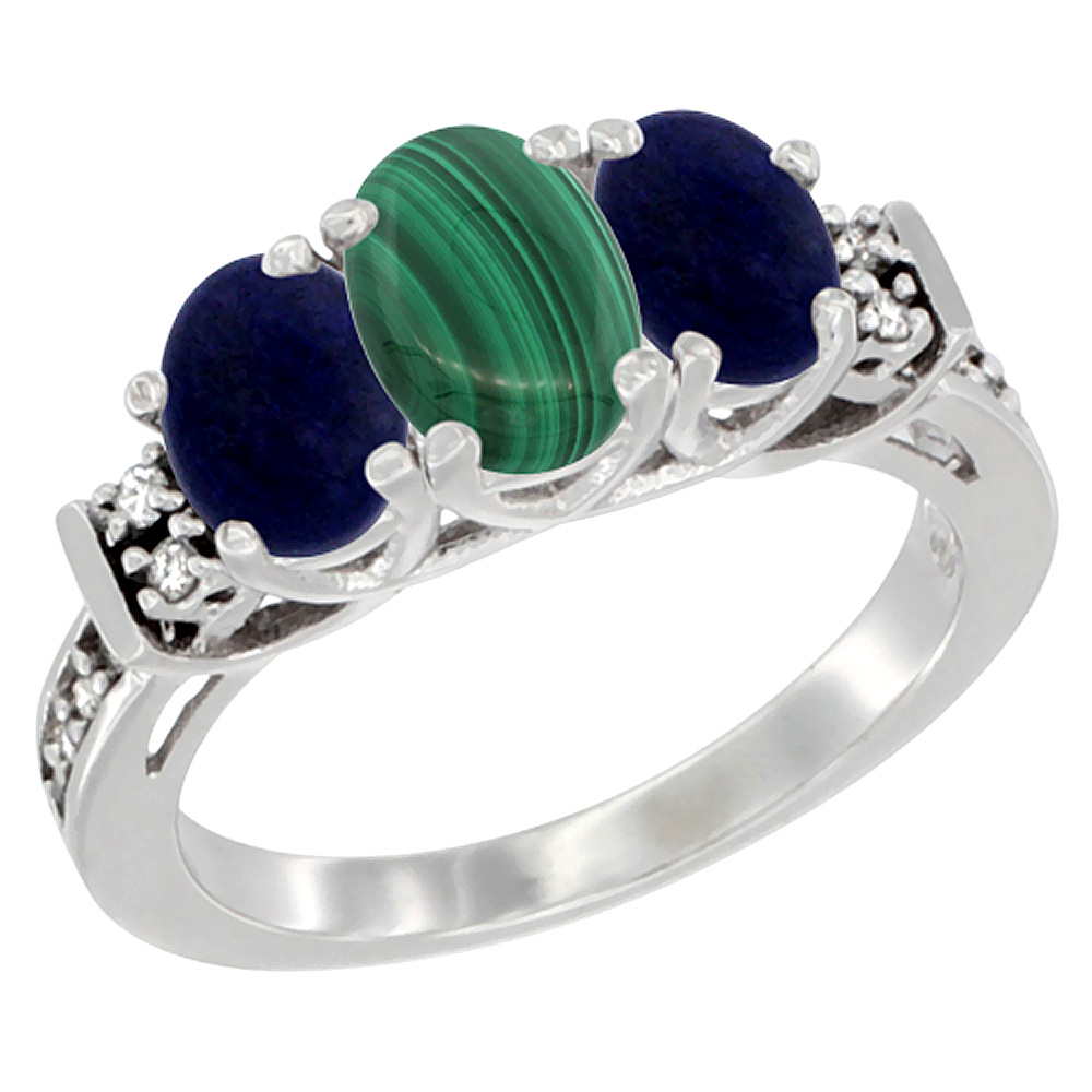 Sabrina Silver 10K White Gold Natural Malachite & Lapis Ring 3-Stone Oval Diamond Accent, sizes 5-10 at Sears.com