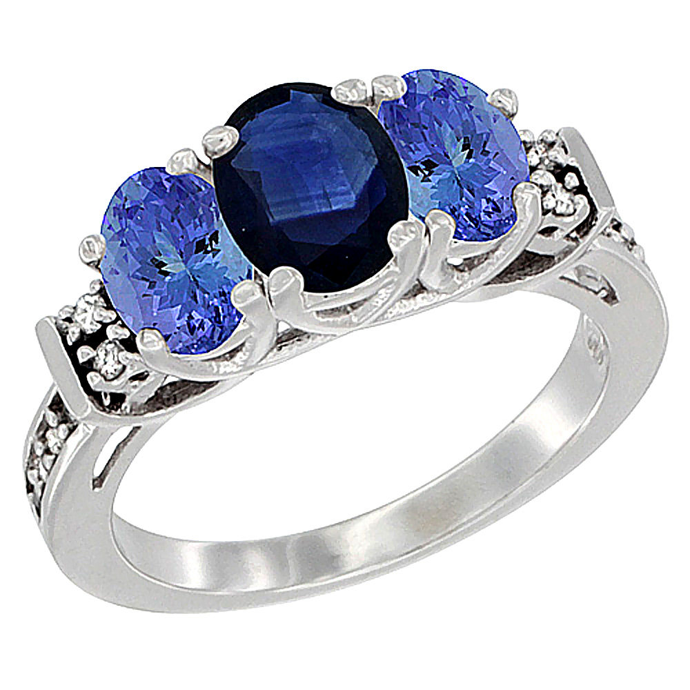 Sabrina Silver 10K White Gold Natural Blue Sapphire & Tanzanite Ring 3-Stone Oval Diamond Accent, sizes 5-10 at Sears.com